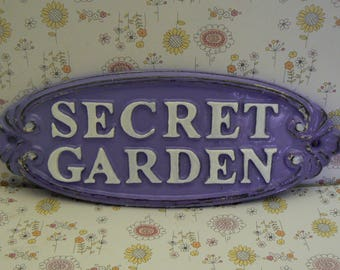 Secret Garden Gate Cast Iron Sign French Lavender White Wall Plaque
