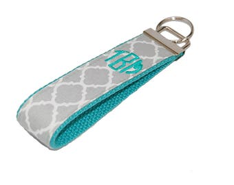 Grey Quatrefoil with Mint Monogram Wristlet Keychain  You Choose Custom Embroidered Initial 3 Letter or Name Key fob