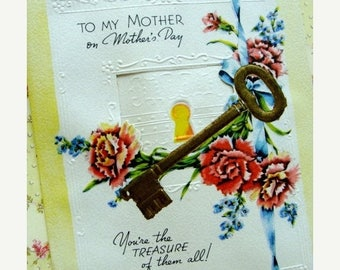 ONSALE Antique Embossed Unused Mothers day card with skeleton key