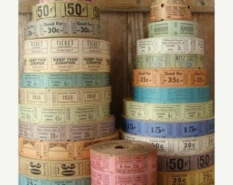 ONSALE 100 Vintage and Antique Tickets Pretty and Soft farmhouse Colors Carnival/Circus/Drive In/Admission/Circus Lot