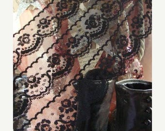 2 Yards Antique Edwardian Black Gothic Mourning Lace Yardage  Stunning and Intricate Almost 6 Inches Wide