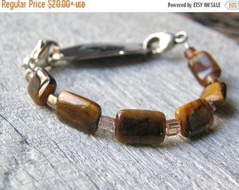 Summer Sale 20% Off Tigers Eye Medical ID Bracelet, Mens or Womens Gemstone Alert Bracelet, Sterling Silver Clasp Replacement Bracelet