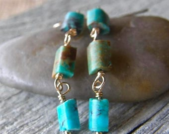 Summer Sale 20% Off Dainty Turquoise and Gold Earrings, Aqua Blue Stone Earrings