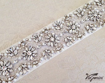 "32"" Bridal Sash, Wedding Sash Belt, Bridal Belt, Crystal Sash, Bridal Accessories"
