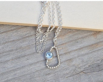 Summer Sale Baby Blue Topaz Necklace, Something Blue Wedding Gift, Unique Topaz Necklace, November Birthstone Necklace