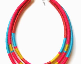 Tribal African Necklace-ThousandTwist Multistrands by FridaWer-textile necklace,modern long fabric fiber necklace tribal statement jewelry