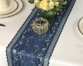 Awesome Navy Blue Lace Table Runner With Metallic Thread Wedding Table Runner LBN05