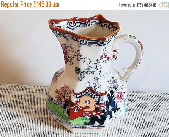 Christmas in July Sale Antique Masons Ironstone China hand painted porcelain ceramic pitcher