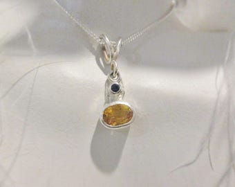 Citrine and Sapphire Pendant and Chain Sterling Silver