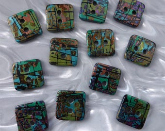 12 unusual funky handmade buttons (set12a_0118)