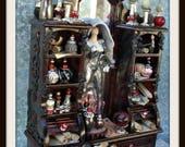 Reserved order for Cheryl Oravetz miniature dollhouse Witch emerging from mirror Gothic dresser Hutch ooak Halloween