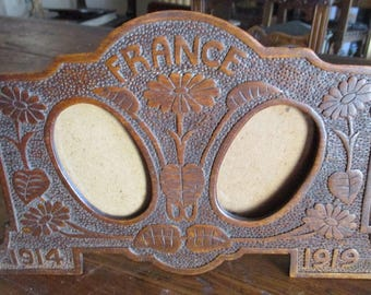 Antique Tramp Art Frame French Carved Wood
