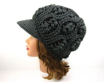 Newsboy Hat - Women's Hat With Brim - Brimmed Beanie - Crochet Cap - Visor Hat - Puff Stitch Cap - Gray Newsboy Cap