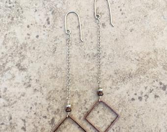 Antiqued Copper Diamond Drop Earrings