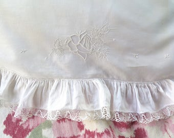 "Vintage Pillow Cover/Case in White with Hand Embroidery, Embroidered Rose,Tulle Lace and Ruffled Edge  21"" x 16"""
