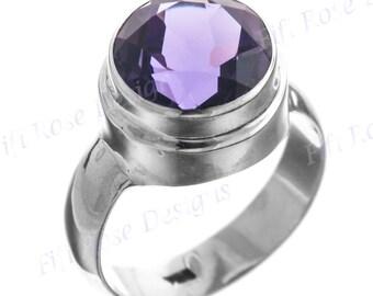 Big 4.5ct Purple Amethyst 925 Sterling Silver Sz 9 Ring