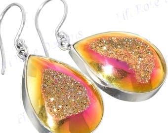 """1"""" Strawberry Mocha Teardrop Titanium Druzy Drusy 925 Sterling Silver Earrings"""