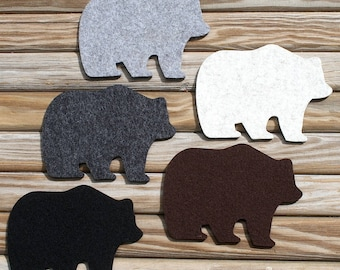 Papa Bear Decor Wool Felt Drink Coasters Father's Day Gift Man Cave Rustic Home Lodge Decor Log Cabin Lake House Gift Unique Coaster Set