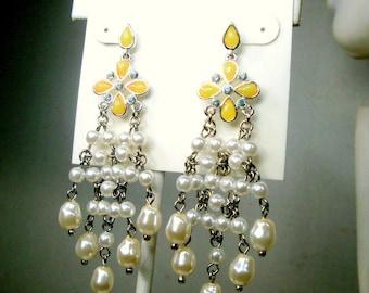 LIZ CLAIBORNE Earrings, Rhinestone, YELLOW,  Silver n Pearl Hanging Posts, Glam Chandeliers w White Pearls n Yellow tops, Unused