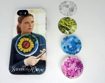 Jewel Crystal PopSocket, Photo Art , Pretty Cell Phone Grip, Phone Stand, PopSocket with Dome , Helps People with Arthritis, Silver, Light G