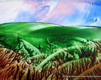 4X6 Down in the Valley Encaustic (Wax) Original Painting / Green, Brown, Blue / Postcard Size Art / Desk Art / SFA (Small Format Art)