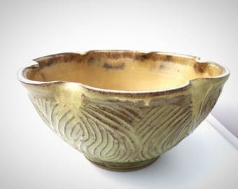 Large Handmade Pottery Serving Bowl //  Rustic Carved Lobed Bowl