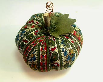 Size 4 |Green Striped Fabric Pumpkin | Halloween Decor | Fall Decor | Thanksgiving Decor | Table Decoration |Handmade Gift |Shelf Sitter |#3
