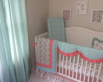 Baby Bedding Crib Set Woodland Fawn Coral Mint Teal Bumperless with Crib Blanket Window Panels Available Seperately