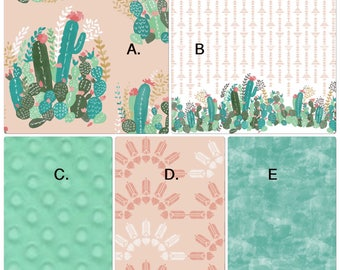 Baby Girl Crib Bedding Set Bumperless Set Coral Mint Peach Teal Cactus