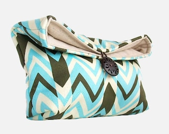 Makeup Bag, Geometric Clutch, Blue and Black Chevron Clutch Purse, Bridesmaid Gift, Cosmetic Travel Bag, Gift Under 25