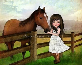 "50% Off SALE Girl and Horse Print ""Kate"" Fine Art Giclee Print Medium Sized Giclee 8.5x11 or 8x10 0r 11x17"