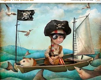 "50% Off SALE Little Pirate Boy Art Print -""Diego"" - 8.5x11 or 8x10  Child's Room Fantasy Artwork - Nautical Theme - Sailor Boy and Shark - B"
