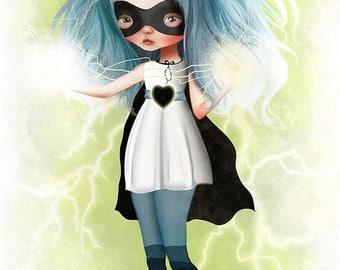 "50% Off SALE Fine Art Print - ""Juno"" - 8x10 or 8.5x11 or 11x17 or 13x19 Giclee Print by Jessica von Braun - Little Superhero Girl Green and"