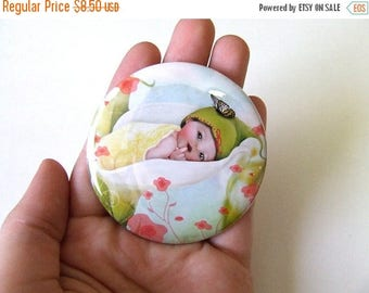 """50% Off SALE Round Pocket Mirror - """"Baby Calla Lily"""" Sweet Little Blossom Fairy - 2.25"""" Real Glass Mirror"""