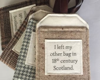 Luggage Tag, Outlander Themed Fan Gift, Luggage Tags, Travel Gift, Gift Under 10, Upcycled Gift, Bag Tag, Luggage Tag Holders, Time Travel