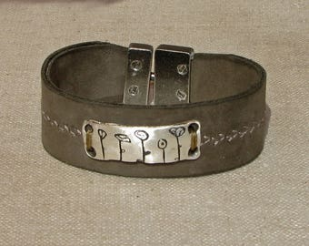 Flower Garden Leather Cuff Bracelet