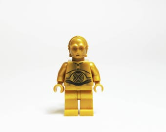 Made from Lego C3PO MiniFigure Star Wars Lapel Pin OR Tie Tack ONLY ONE