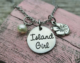 Island Girl Charm Necklace, fine pewter