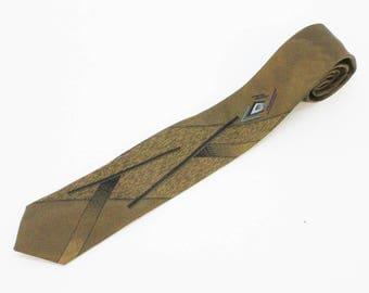 "80's Skinny Tie Necktie / Narrow Tie / Retro Tie / Art Deco Tie / Bronze and Black / 2  1/2"" wide"