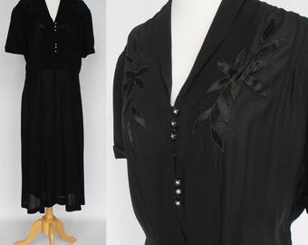 40's Black Rayon Dress with Satin Appliques / Rhinestone Buttons / Short Sleeves / XLarge