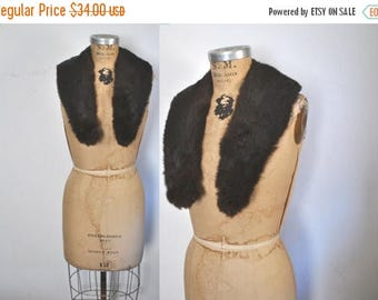 SALE Rabbit Fur Collar / vintage / dark brown