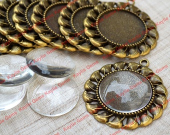 Vintage Setting 10 Antique Brass Pendant Tray 10 Matching Clear Glass Dome, 10 Ball Chains