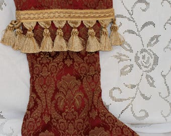 Woven Holiday Christmas Stocking Elegant Red Damask Silk Taffatea w Gold Tassel Fringe