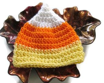 Newborn Candy Corn Hat - Crochet Baby Candy Corn Hat - Size 0 to 3 Months - Halloween Photo Prop - Newborn Candy Corn Beanie - Ready To Ship