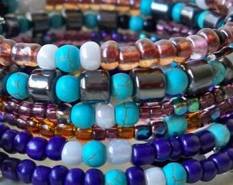 Boho Beaded Wrap Bracelet - Seed beads - Good Luck Elephant charms - Bohemian jewelry - One of a Kind - bycat