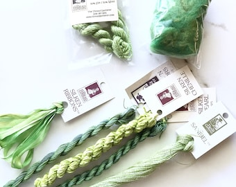 Limited Edition Wasabi Greens Variety Pack. The ThreadGatherer. Hand-Dyed Silk.Hand Dyed Fibers. Thread Sampler Pack.