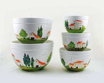 Hand painted mixing nesting bowls - Village Provencal collection