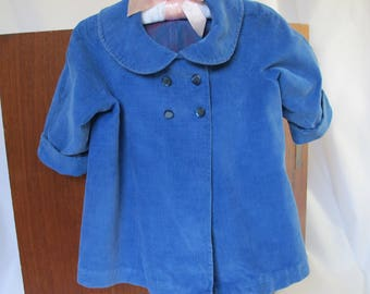 Vintage Lined Coat Baby or Large Doll and Bonnet Hat 1950s Nursery Display Clothes Corduroy Blue Satin Lining Baby Clothes Peter Pan Collar