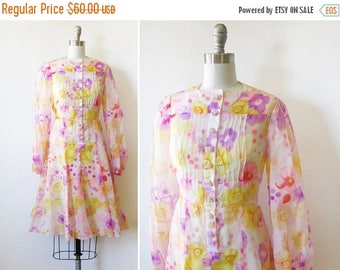 20% OFF SALE 60s floral dress, boho floral chiffon dress, vintage 1960s pink and yellow floral dress, medium m