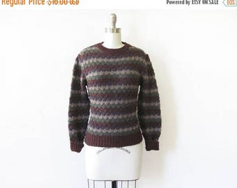 20% OFF SALE brown striped sweater, vintage 80s pointelle knit sweater, cozy medium pullover sweater